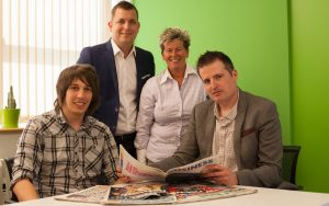 L-R Jonny Stringer, Matt Wheatcroft, Bev Cook, Jon Smart