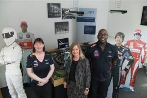 Sally Swann with scalextrix track providers Cheryl & Jeff Daniels of Slot Cars R Uz