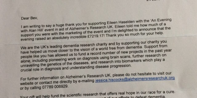 Alzheimer's Research thank you letter