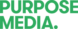Purpose Media Logo June 2016. Bold capitals representing maturity and transition into being a full service agency.