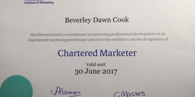 Bev Cook chartered marketer certificate